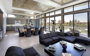 Picture interior, kitchen, living room, dining room, Modern Ranch, modern ranch