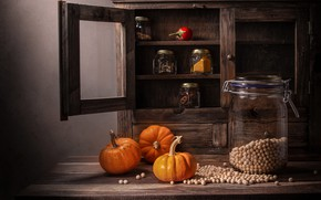 Picture glass, table, Board, food, peas, kitchen, jars, Bank, pumpkin, wardrobe, still life, placer, shelves, composition, …