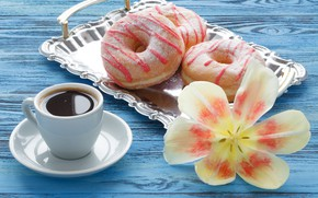 Picture flower, Tulip, coffee, donuts