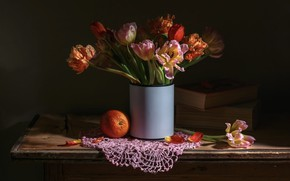 Picture flowers, the dark background, table, books, orange, bouquet, tulips, vase, still life, items