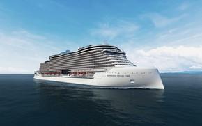 Picture The ocean, Sea, The ship, Rendering, Norwegian, Passenger ship, Passenger liner, Vessel, Cruise liner, Passenger …