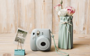 Picture retro, bouquet, Pink, the camera, vase, flower, vintage, Vintage, vase, eustoma, Retro