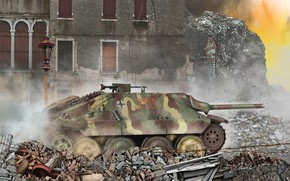 Picture Ruins, SAU, Tank fighter, Hetzer, Jagdpanzer 38(t)