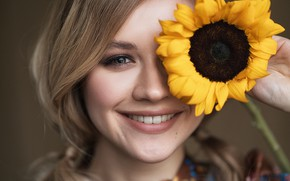Picture look, girl, face, smile, mood, sunflower, Vlad Popov, Ksenia Guseva