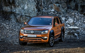 Picture stones, Volkswagen, pickup, breed, Amarok, Canyon, 2019