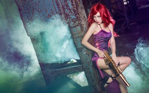 Picture look, girl, weapons, background, smoke, dress, couples, shoes, heels, image, Asian, redhead, character, cosplay