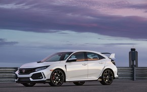 Picture white, clouds, the fence, Honda, hatchback, the five-door, 2019, Civic Type R, 5th gen, FK8