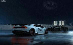 Picture Auto, Night, Lamborghini, Machine, Rain, Batman, Lambo, Batmobile, The shower, The Batmobile, Huracan, Lamborghini Huracan, …