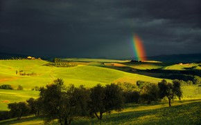 Picture the sky, light, trees, clouds, view, field, rainbow, space, Italy, houses, meadows, Tuscany, gloomy sky, …