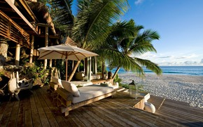 Picture sea, beach, Palma, stay, Seychelles, house, the hotel, North Island