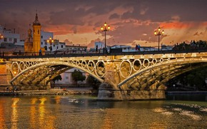 Picture river, arch, Spain, Seville, the bridge of Isabel II