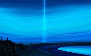 Picture dark, light, clear sky, sky, trees, landscape, nature, blue, art, lake, birds, people, artist, digital …