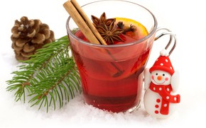 Picture snow, glass, lemon, toy, new year, cocktail, white background, snowman, drink, cinnamon, bumps, pine branches, …
