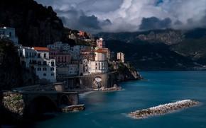 Picture Amalfi Coast, Amalfi coast, clouds, Italy, mountains, home, the city, sea, Atrani, rocks, Atrani, Amalfi