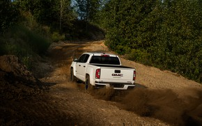 Picture road, dust, pickup, the rise, the ground, GMC, Crew Cab, Canyon, AT4, 2020, 2021, Off-Road …