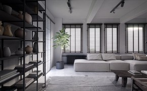 Picture room, interior, highres, living room, by Leo Chou, Dark Apartment