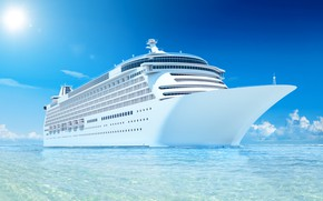 Picture The sun, The ocean, Sea, Liner, The ship, Nose, Rendering, Tank, Passenger ship, Passenger liner, …