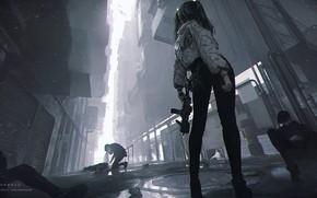 Picture girl, weapons, men, by Shal. E, повержены