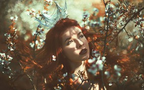 Picture leaves, girl, light, crown, Princess