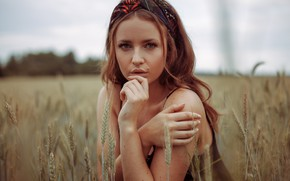 Picture field, look, girl, face, hands, ears, kassio. epia
