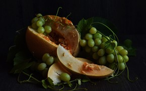 Picture the dark background, food, grapes, fruit, still life, slices, composition, melon