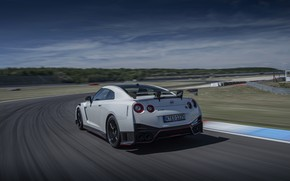 Picture white, track, Nissan, GT-R, R35, Nismo, 2020, 2019, before turning