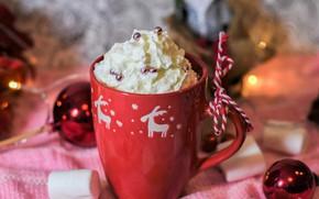 Picture winter, holiday, Christmas, mug, New year, drink, cream, dessert, Christmas decorations, новогодние декорации