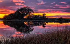 Picture trees, sunset, lake, reflection, Washington, Washington State, Cranberry Lake, Cranberry Lake, Lake Cranberry