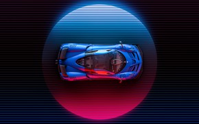 Picture Auto, Machine, Pagani, The view from the top, Supercar, Neon, Illustration, To huayr, Huayr To …