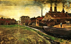 Picture river, boat, smoke, home, Vincent van Gogh, The Hague, Iron Mill in
