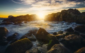 Picture sea, wave, the sky, the sun, clouds, rays, light, landscape, sunset, stones, the ocean, rocks, …