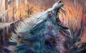 Picture cold, wolf, ice, wool, mouth, fangs, horror, pain, werewolf, blood, werewolf, mater, roar, bu Alaiaorax