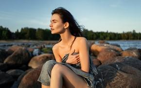 Picture girl, the wind, goosebumps, cold, Oleg Gritsun, Evgeniya Burmistrova