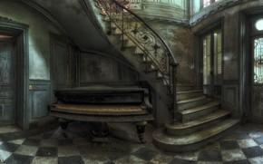 Picture door, ladder, piano