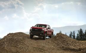 Picture red, stones, Chevrolet, pickup, the ground, mound, Silverado, Z71, Trail Boss, 2019, Silverado LT