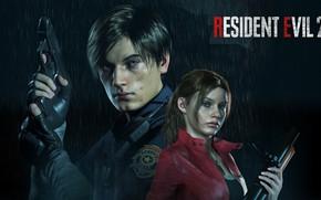 Picture girl, weapons, guy, Resident Evil 2, Resident Evil 2 (2019)