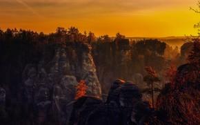 Picture sunset, mountains, nature