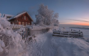 Picture winter, snow, house, the fence, Russia, path, Arkhangelsk oblast, The Village Of Upper Toima, Alex …