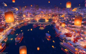 Picture bridge, river, China, boats, Asia, goldfish, stairs, lanterns, promenade, the view from the top, the …