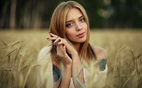 Picture look, girl, face, pose, mood, hands, ears, Nastya, Evgeny Bulatov