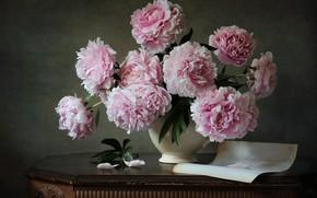 Picture leaf, bouquet, vase, peonies