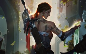 Picture girl, sword, fantasy, weapon, waterfall, tattoo, artist, digital art, artwork, warrior, fantasy art, fantasy girl, …