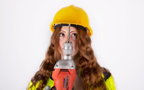 Picture girl, face, hair, construction, helmet, drill
