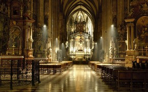 Picture interior, pictures, columns, temple, stained glass, statues, the altar, Cathedral