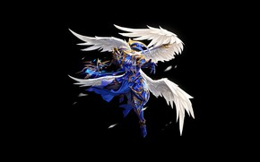 Picture Minimalism, Armor, Angel, Feathers, Wings, Fantasy, Art, Art, Staff, Knight, Minimalism, Wings, Armor, TaeKwon Kim …