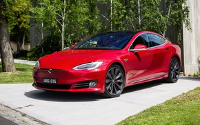 Picture red, Tesla, Model S, P90D