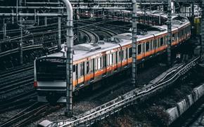 Picture train, station, railroad, Tokyo, japan