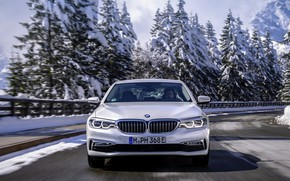 Picture road, white, trees, BMW, sedan, front view, hybrid, 5, four-door, 2017, 5-series, G30, 530e iPerformance