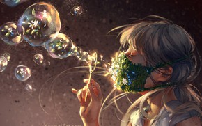 Picture hand, chamomile, bubbles, girl, forget-me-nots, bangs, in profile, rainbow, by Yuumei, medical face mask