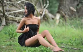 Picture barefoot, black dress, waiting, barefoot, bare shoulders, black dress, waiting, sexy brunette, sexy brunette, bare …